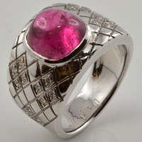 Bague DAGHER Or Blanc Tourmaline Rose