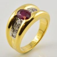 Bague DAGHER Or Jaune Rubis Diamant