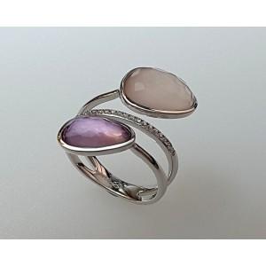 Bague DAGHER Améthyste Violette Cristal Rose Diamants