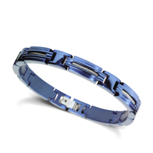 Bracelet Rochet MARINA acier/câble bleu
