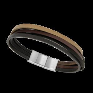 Bracelet Rochet HIGHLANDS Acier 30mm et cuirs plats noir, marron, gold, beige